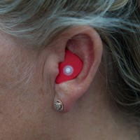 Red NoiseBreaker in the ear